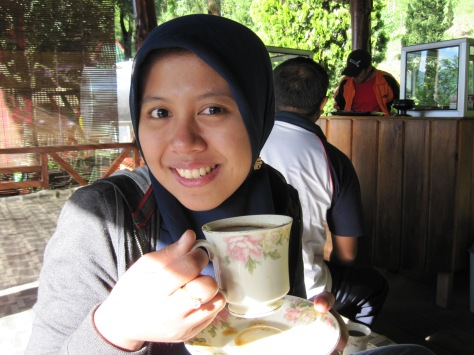 a Cup of Hot Coffee in Ijen Cafe
