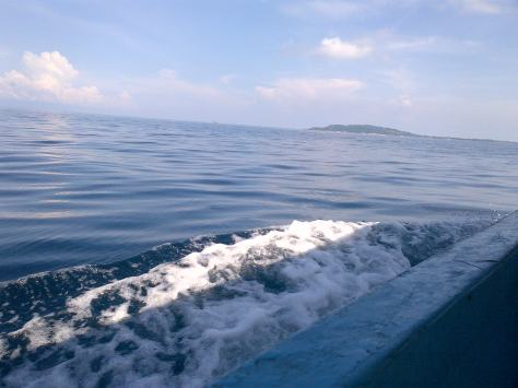 Perjalanan dengan perahu menuju ke Gili Trawangan