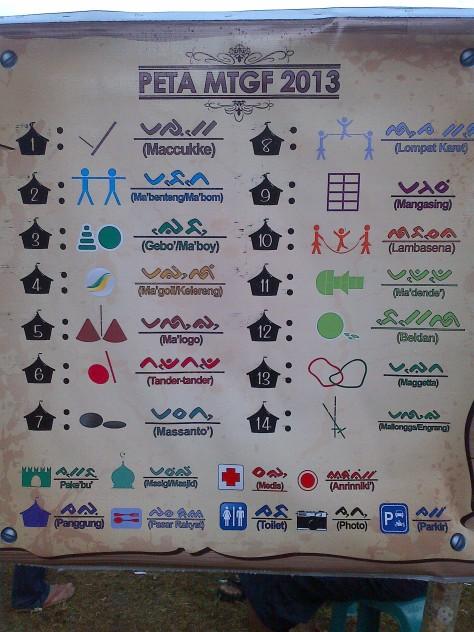 Awal masuk lokasi MTGF kita bs melihat peta tempat permainan yang di tuliskan dengan bahasa makassar dan aksara lontara.